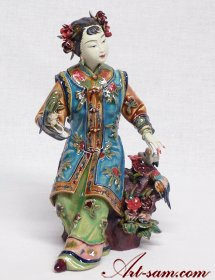 Porcelain Dolls Figurine Statue Oriental Ancient Chinese Lady Birds
