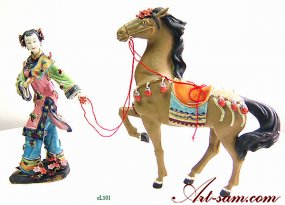 Qing Lady & Horse - Shiwan Chinese Ceramic Lady Figurine