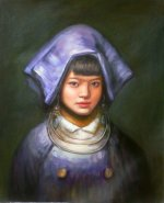 "Quality 2003 Old Hand Oil Painting On Canvas Chinese Pretty Ethnic Girl 24""x 20"
