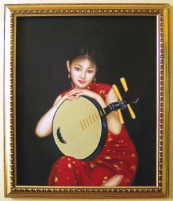 "Quality Oil Painting On Canvas Oriental Chinese Musician Lady 24"" x 20"" inches"