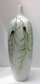 Rare Fine Collection Famille Rose Vase Painted with Cicada & Trees