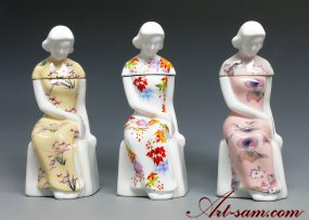 Republic Elegant Chinese Lady Figurine White Porcelain Collection