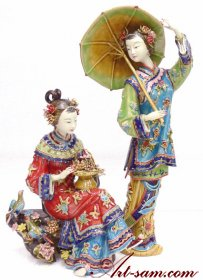 Twins - Shiwan Porcelain Lady Figurine Masterpiece
