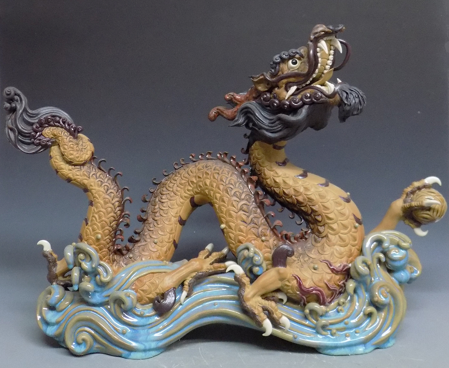 "Imperial dragon Chinese Zodiac Animal Ceramic Figurine Statue 24"" Master Piece"