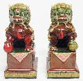 Chinese Feng Shui Fu Foo Dog Lions Ceramic Statue Figurine PAIR - Art-sam.com