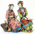 Twins Sister - Chinese Porcelain / Ceramic Lady Figurine Masterp - Art-sam.com