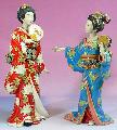 Ceramic / Porcelain Lady Figurine Set - Japanese Kimono Geisha - Art-sam.com