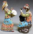 Porcelain Dolls Ceramic Figurine Chinese Ethnic Lady Musician PAIR - Art-sam.com