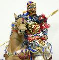 Guan Gong Horse Ancient Warrior Masterpiece Chinese Ceramic Figurine Statue - Art-sam.com