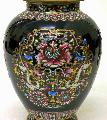 Quality Enamel Porcelain Vase Pot - Vintage 24K Carat Golden Gilt Engra - Art-sam.com